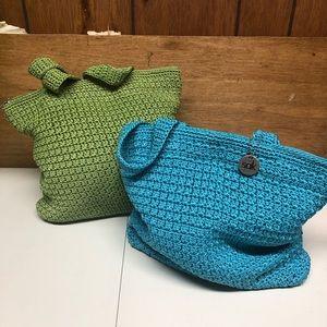 2 Blue & Green Crochet Medium Tote Bags The Sak